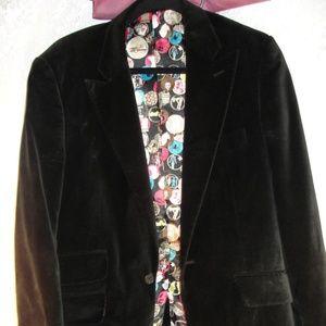 Blazer by Tipster Men's Black Velvet  Size M